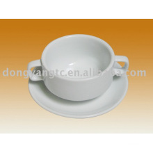 porcelain soup cup and plate