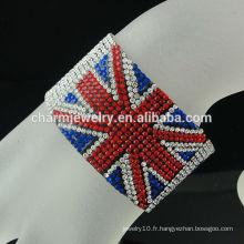 Fashion rhinestone union jack bracelet magnétique pour garçons Bracelets en cuir de drapeau britannique BCR-016-1