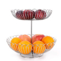 Fashionable double basket vegetable and fruit stainless steel gold fruit basket metal
