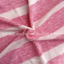 Linho / poli tricô fio tingido camiseta Jersey (QF13-0457)
