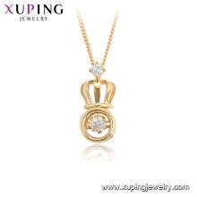 44933 xuping 18K plaqué or forme de couronne de mode collier de pierre de danse