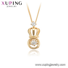 44933 xuping 18K gold plated crown shape fashion dancing stone necklace