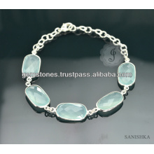 Bracelet Sterling Silver Chain Calcedony Gemstone, Bracelet Chain Chain en Mode, Bracelet Gemstone Silver Chain Link