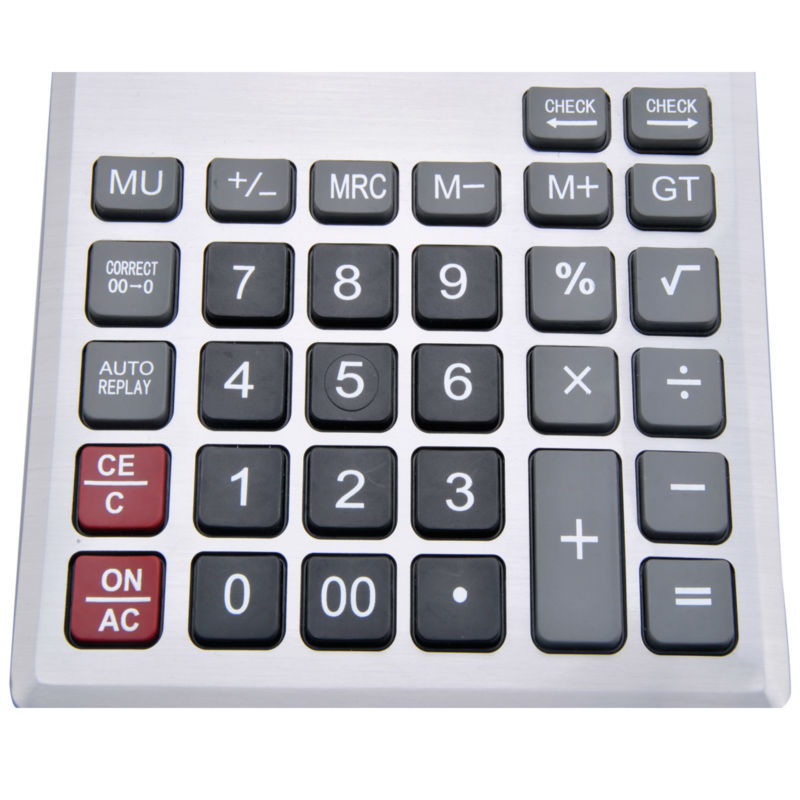 12 Digits Dual Power Check y Calculadora de Escritorio Correcta