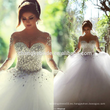 Vestido de novia de lujo a través de cristal vestido de bola de marfil por encargo Arabia Saudita princesa vestido de novia 2016