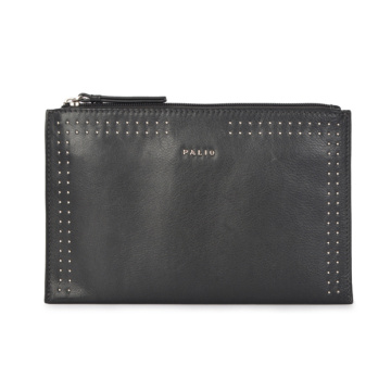 Schwarze Clutch Bag Metallic Embossed Slim Wristlet Pouch