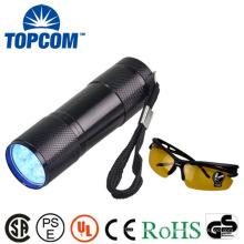 Mini 9 LED UV Tocha Prova de choque e resistência à água Tocha UV LED
