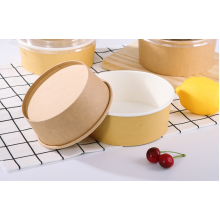 Take Away Disposable Kraft Paper Salad Bowl With Plastic Lid