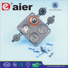 Enchufe de alimentación del enchufe del encendedor del cigarrillo del coche del panel de cuatro agujeros de Daier con el contador de tiempo y el cargador del USB
