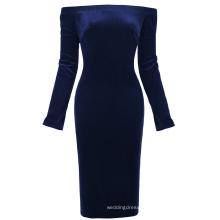 Kate Kasin Women's Long Sleeve Off Shoulder Hips-Wrapped Navy blue Velvet Bodycon Pencil Dress KK000500-2