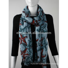 In Stock Polyester Seafish Printed Scarf
