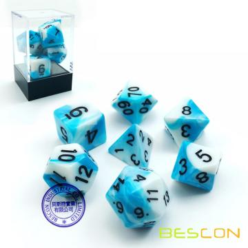Bescon Gemini Polyhedral Dice Set Icy Track, Two-tone RPG Dice Set of 7 d4 d6 d8 d10 d12 d20 d% Brick Box Pack