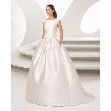 Elegant Pleat Belt Ball Gown with Pocket Satin Wedding Dress