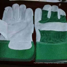 Labor Safety Patched Palm Cow Split Leather Worker Gloves