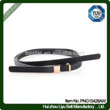 Senhora Casual Casual Couro Genuino Moda Cinto magro Cintura de metal Cintura