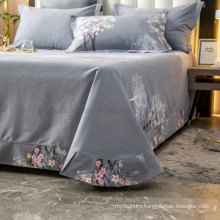Luxurious Bedsheet High Quality Cotton Brushed Fabric Light Grey Printed Full Bedding Set