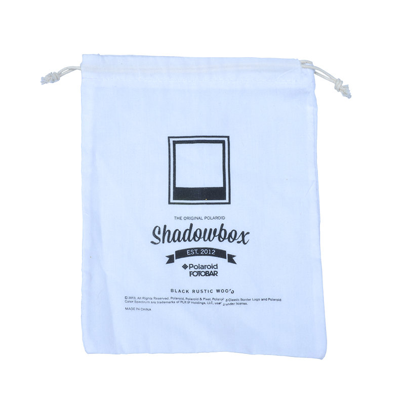 white cotton pouch with logo
