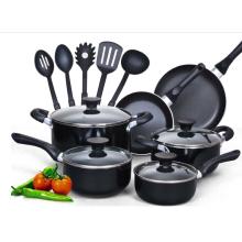 15 piezas de aluminio antiadherente negro manija suave conjunto de utensilios de cocina