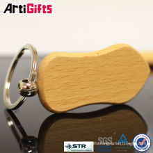 Deft design heart shape wood keychain