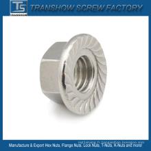 Écrou de blocage à bride dentelée en acier inoxydable Ss304