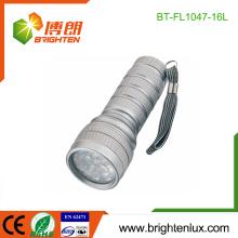 Logo de l'usine Imprimé EDC 3 * Cellule AAA Powered Portable Emergency 16 LED Metal Flashlight Torch