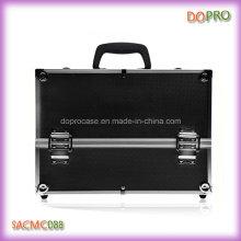 Valise de beauté noire professionnelle de surface d'ABS grande valise cosmétique professionnelle (SACMC088)