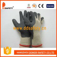 Venta caliente guantes de algodón recubierto de espuma de látex negro Dkl419
