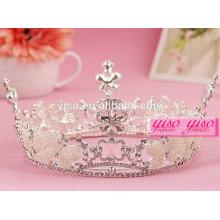 Estilo europeu moda prata novo design casamento cristal pérola redonda coroa