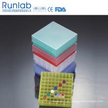 Caja compacta de almacenamiento de microtubo con pozo de 100 o bien 81