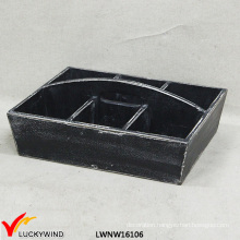 6 Compartments W/ Handle Wood Tray