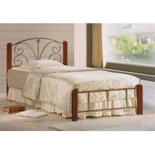 Lit simple classique en bois, meuble de chambre à coucher