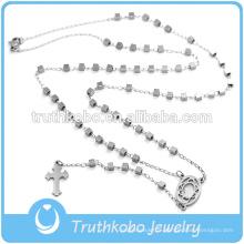 Bijoux de Noël, collier de perles en acier inoxydable avec cube en argent et Jésus, chapelet croix latérale