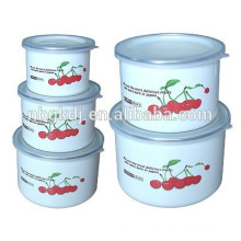high ice bowl with PE lids & coating enamel enamel mugs sets