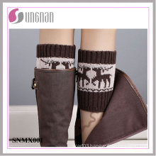 Winter Europe Spelled Color Elk Leg Warmers Foot Knitted Socks