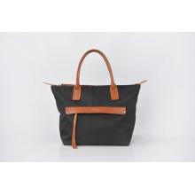 Women's Long Nylon Bag Vintage Handbag Leather Handle