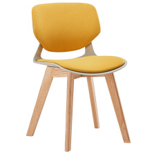 Anji kehong french upholstered cushion small modern leisure accent chairs with oak wood legs