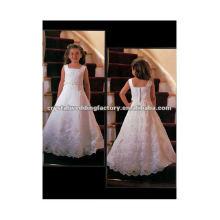 Продается аппликация из бисера квадратный вырез с длина пола a-line сшитое кружева цветок девочки платья CWFaf3919