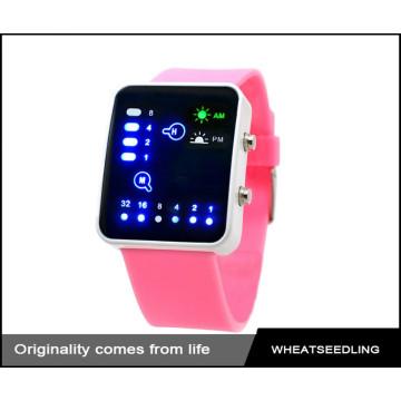 Fashion cute pink silicone band montre led colorée, montre femme