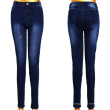 Dunkelblaue weiße Frauen-Jeans-Fabrik