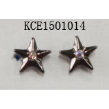 Star Metal Silver Plated Pierced Earrings