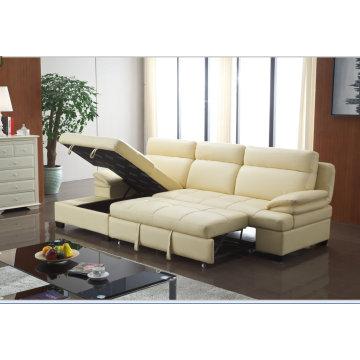 China do recliner, sofá da forma moderna L sala de estar, cama dobrável função sofá (967)