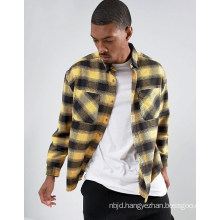 Oversized Check Shirt with Acid Wash in Yellow Shirt
