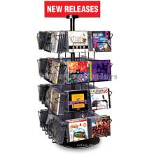 Supermarket Counter Top 4-Tier Metal Display Shelf, 32 Wire Pockets Audio Shop Cd Display Shelf