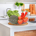 Factory Handmade 304 Stainless Steel Kitchen Vegetable Basket Fashion Breathable Household Chinese Fruit Basket