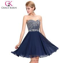 Grace Karin Strapless Sweetheart Neckline Chiffon Beaded Short Navy Blue Cocktail Dresses 2016 GK000082-2
