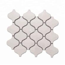 Beige Glazed Ceramic Floor Lantern Mosaic Tile For Kitchen Wall Decoration