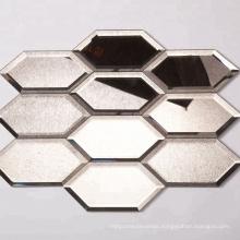 Bronze Antique Mirror Wall Tiles Hexagon Mirror Mosaic Tiles Sheet