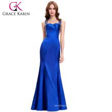 Grace Karin Sexy V-neck Cross Back Royal Blue Long Beaded Formal Evening Gown Dresses CL4603