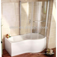 Bañeras de ducha acrílicas de superficie sólida en forma de p blanco con panel de vidrio
