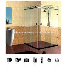 Attrative Stainless Steel Frameless Sliding Shower Hardware Enclosures for 90 Degree Double Door Corner System